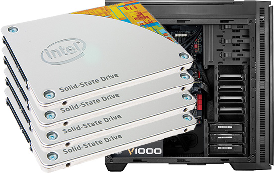 Four Intel solid state drives