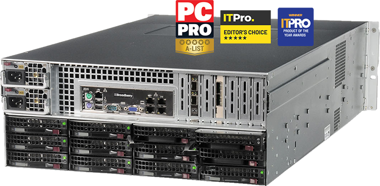 Broadberry storage server with PC Pro A-List award, IT Pro Editors Choice and IT Pro product of the year awards